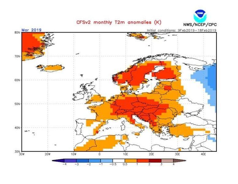 Średnia temperatura miesięczna może być o 1-2 stopni wyższa od średniej wieloletniej (NOAA)