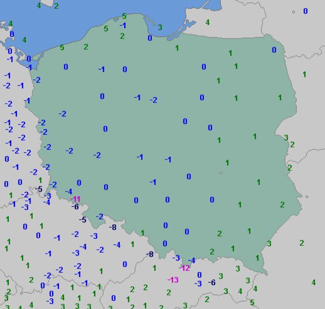 Temperatura powietrza o godzinie 8.30 (wetteronline.de)
