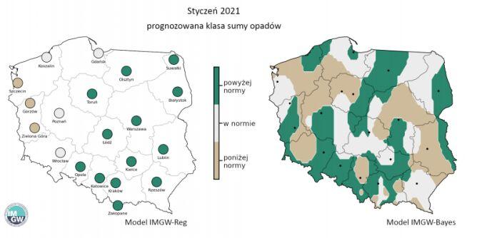 Prognozowana klasa miesięcznej sumy opadów w styczniu 2021 r. według modelu IMGW-Reg i IMGW-Bayes (IMGW-PiB)