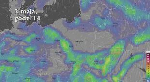 Opady deszczu w pierwszych dniach majowego weekendu (Ventusky.com | wideo bez dźwięku)